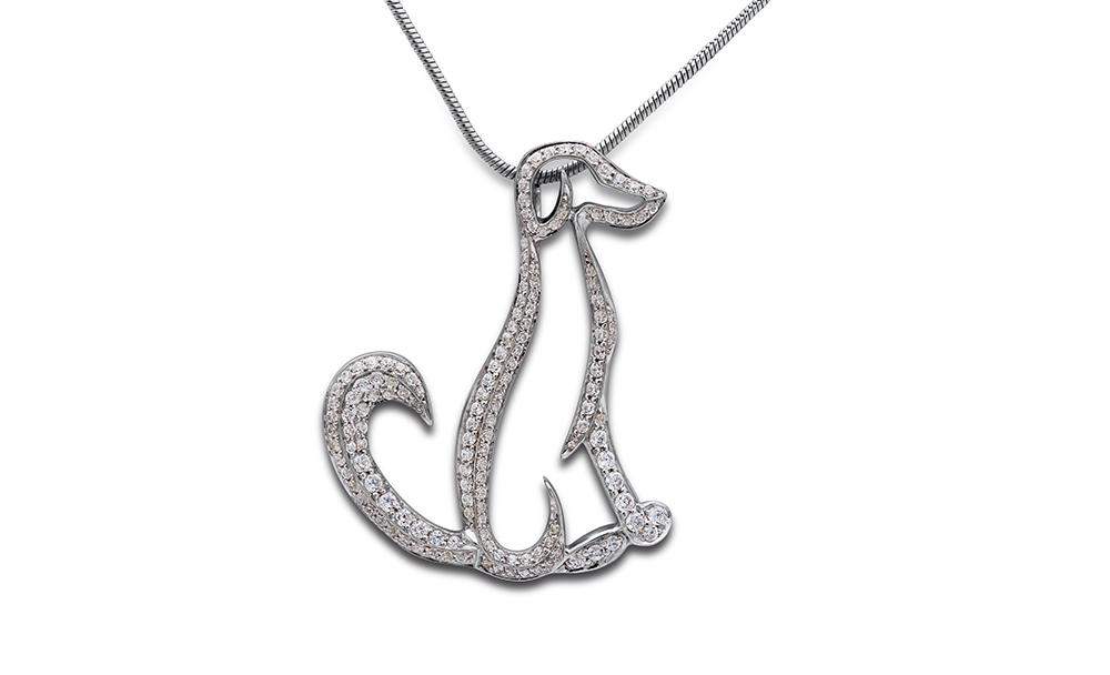 Dog pendant, pave