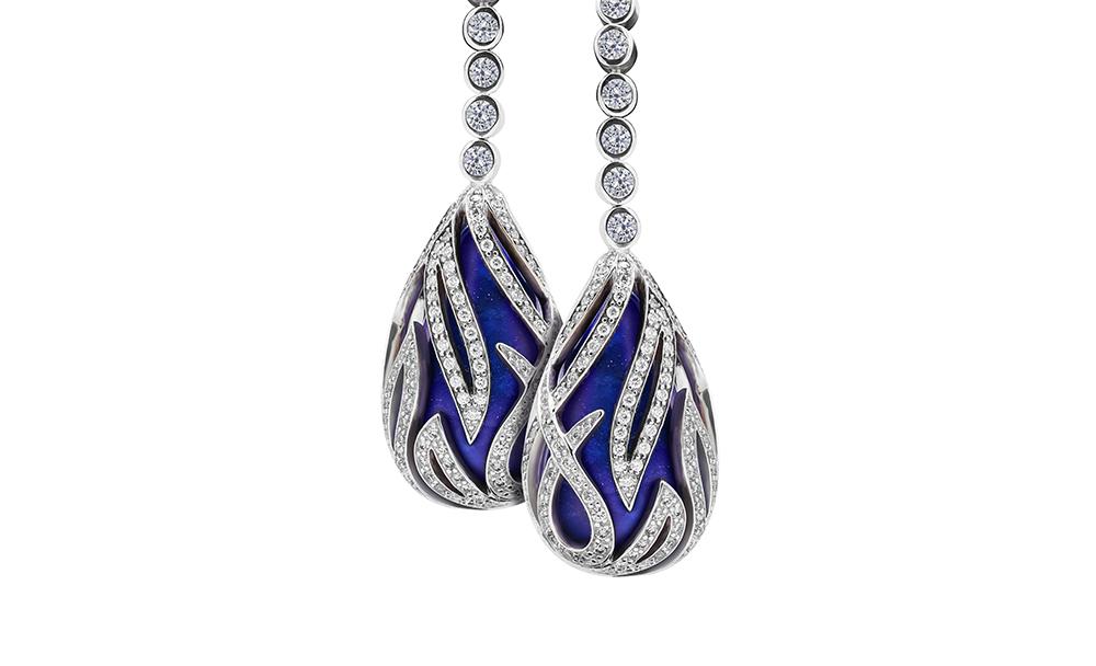 Lapis diamond drop earrings